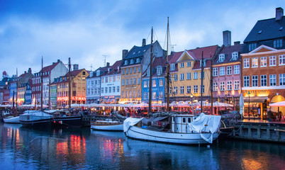 Wall Mural - Nyhavn harbour at night, Copenhagen