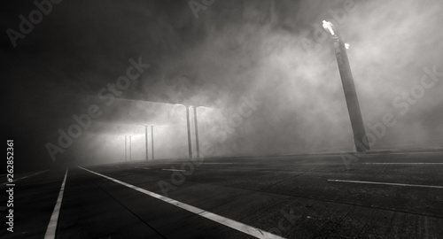 Concept Art Of Dark And Misty Night In Open Highway With