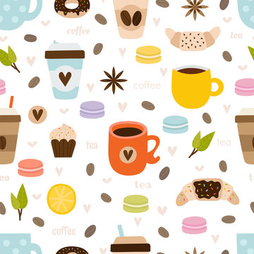 Hand drawn coffee and tea seamless pattern. Set of kitchen tools, symbols, objects and elements. Cute and funny background