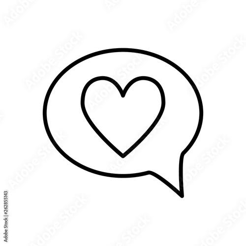 Heart in speech bubble line icon  Love message vector