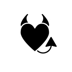 Devil's heart solid icon. Heart with horns and a tail vector illustration isolated on white. Evil love glyph style design, designed for web and app. Eps 10.