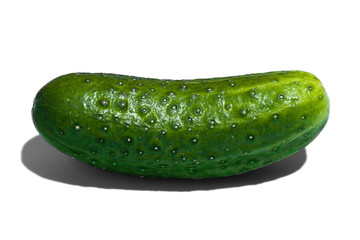 Ripe green cucumber on white background. Healthy eating and dieting concept