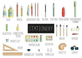 Vector set of colored stationery, writing materials, office or school supplies isolated on white background. Bright pack of pen, pencil, ruler, glue, paint, brush, pushpin.