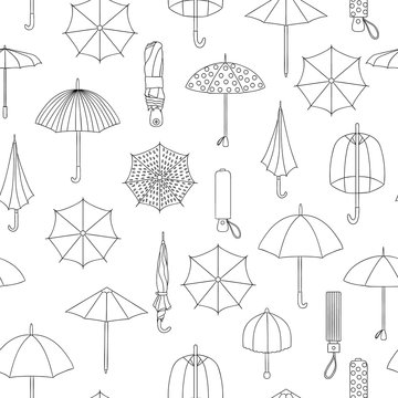 Vector seamless pattern of black and white umbrellas. Repeat background with isolated monochrome umbrella