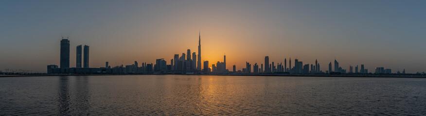 Dubai City Skyline, Residential and Business Skyscrapers in Downtown, Dubai, UAE
