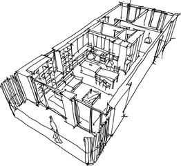 hand drawn sketch of Perspective cut away diagram of a one bedroom apartment completely furnished