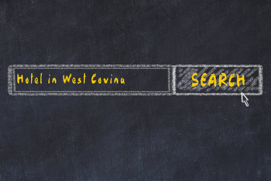 Chalk sketch of search engine. Concept of searching and booking a hotel in West Covina