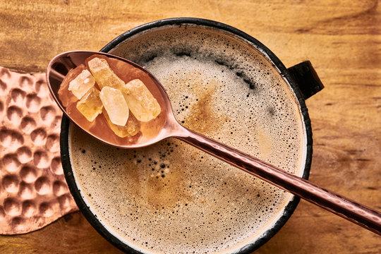 Coffee in Mug with Rock Sugar