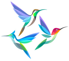 Stylized Birds - Hummingbirds in flight
