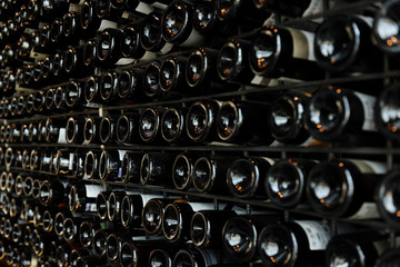 Endless rows of wine bottles