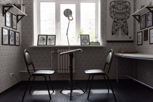 Interior of modern tattoo studio