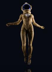 female futuristic astronaut dressed suit with helmet on black background.- 3d render