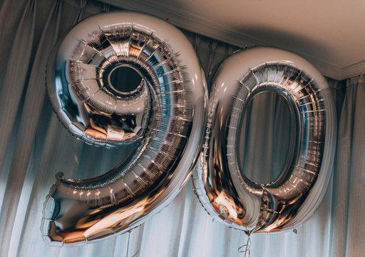 Birthday balloon with 90 shape