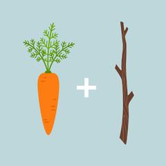 Carrot plus stick motivation concept