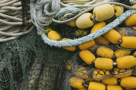 Pile of commercial fishing nets and ropes