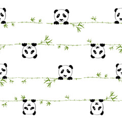 Seamless pattern cute little panda with branch bamboo. Seamless pattern can be used for wallpaper, pattern fills, web page background,surface textures. Vector