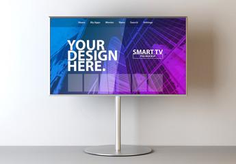 Smart TV on Metal Stand Mockup