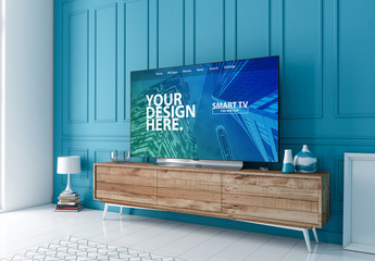 Smart TV on Console in Blue Room Mockup