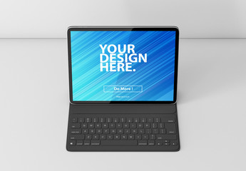 Tablet with Keyboard Mockup