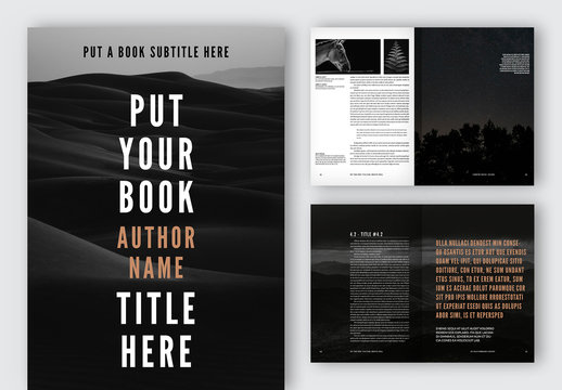 Stylized Book Layout with Black and White Elements