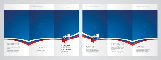 Wavy flag and ribbon of Slovenia three fold brochure modern design blue abstract background
