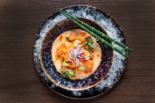 seafood ceviche on the ice