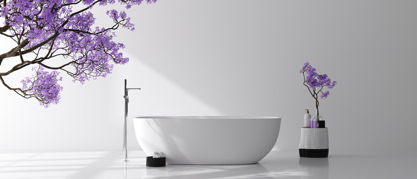 Modern bathroom interior with blossom tree, poster wall mock up, 3d render
