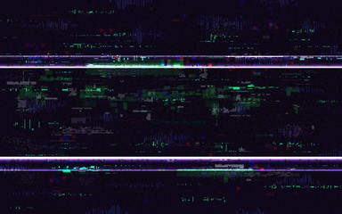 Glitch no signal. Digital distortions with color pixel noise. VHS background with distorted lines. Video problem concept. Video game glitch. TV screen pause. Vector illustration