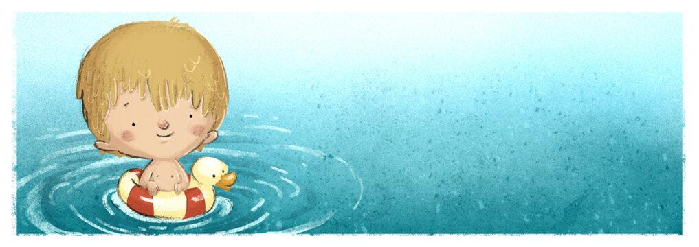 niño con flotador en el mar