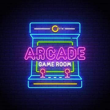 Arcade Games neon sign, bright signboard, light banner. Game logo neon, emblem. Vector illustration