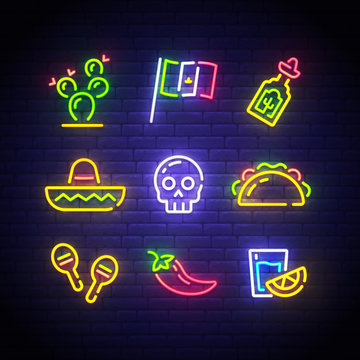 Mexican icons. Icon from Cinco De Mayo. Mexico neon sign. Cactus, Flag Mexico, Tequila, Mexican hat, Skull, Taco, Maracas, Chilli, Shot icon. Vector Illustration