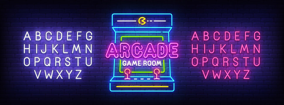 Arcade Games neon sign, bright signboard, light banner. Game logo, emblem and label. Neon sign creator. Neon text edit