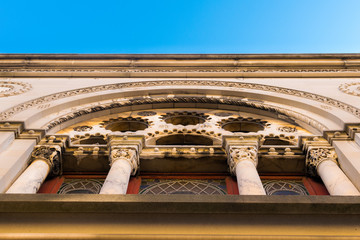 Fanciful architecture at the exterior of a small church in Harlem, Manhattan, NYC, USA