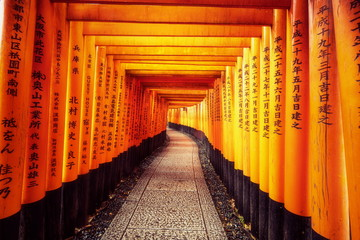 Red Torii gates in Fushimi Inari in Kyoto, Japan.