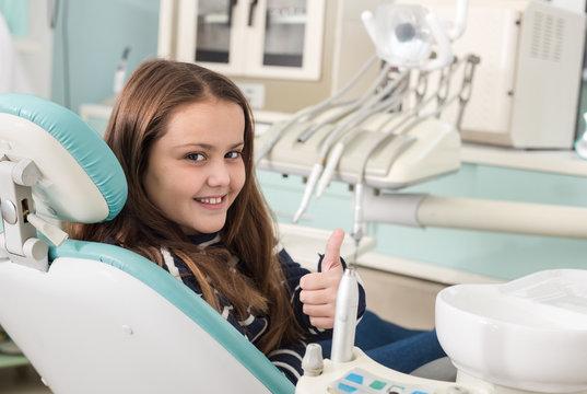 Girl in dentist office