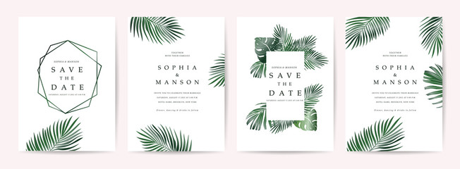 Wedding invitation,Thank You Card, rsvp, posters design collection with marble texture background,Geometric Shape,Gold and Tropical Leaves design - Vector Wall mural