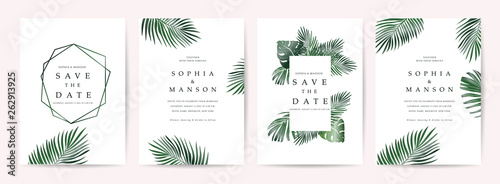 Wall mural Wedding invitation,Thank You Card, rsvp, posters design collection with marble texture background,Geometric Shape,Gold and Tropical Leaves design - Vector