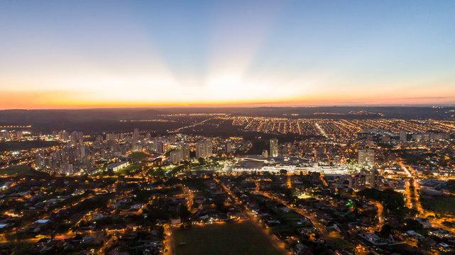 Aerial image of the Ribeirão Preto city. Ribeirão Shopping.