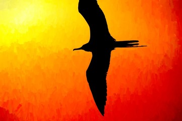 Wall Mural - Bird Silhouette Flying