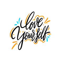 Love yourself hand drawn vector lettering. Isolated on white background.