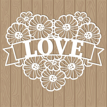 Template for laser cutting. The heart of lace consists of flowersVector