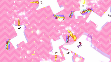 Cartoon falling unicorn pinatas with magic dust effect on pink wavy background. 3d rendering picture.