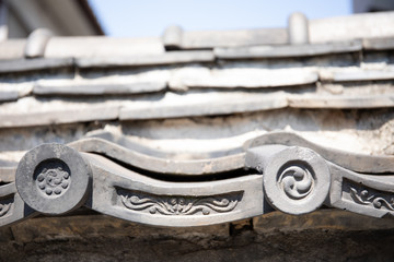 Decorative End Tiles on Japanese Temple