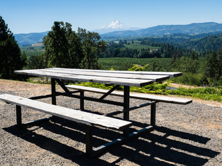 Picnic table at Panorama Point with views of Mount Hood and Columbia River farmlands - Hood River, Oregon, USA