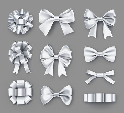 Pretty white gift bows with ribbons. Wedding ceremony decor isolated on grey background. Realistic decoration for best man invitation. Different elegant objects from silk vector illustration.