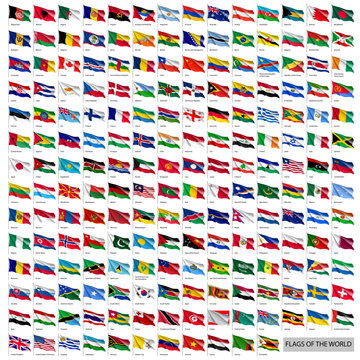 Wavy worldwide national flags on flagpoles. Realistic all world countries flags isolated on white background. Patriotic and diplomatic symbols vector illustration. Official and political identity.