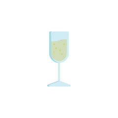 Glass of champagne drink flat icon, vector sign, Champagne glass colorful pictogram isolated on white. Symbol, logo illustration. Flat style design