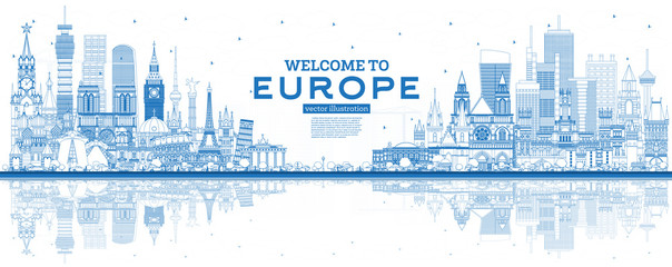 Wall Mural - Outline Welcome to Europe Skyline with Blue Buildings.