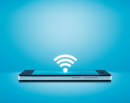 wi-fi button flat icon on modern smart mobile phone screen over gradient light blue background, Technology internet online concept