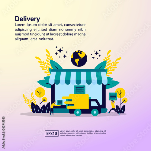 Online Cargo Tracking Delivery concept  Application Tiny People